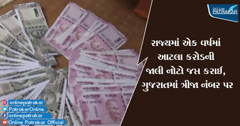 રાજ્યમાં એક વર્ષમાં આટલા કરોડની જાલી નોટો જપ્ત કરાઈ, ગુજરાતમાં ત્રીજા નંબર પર